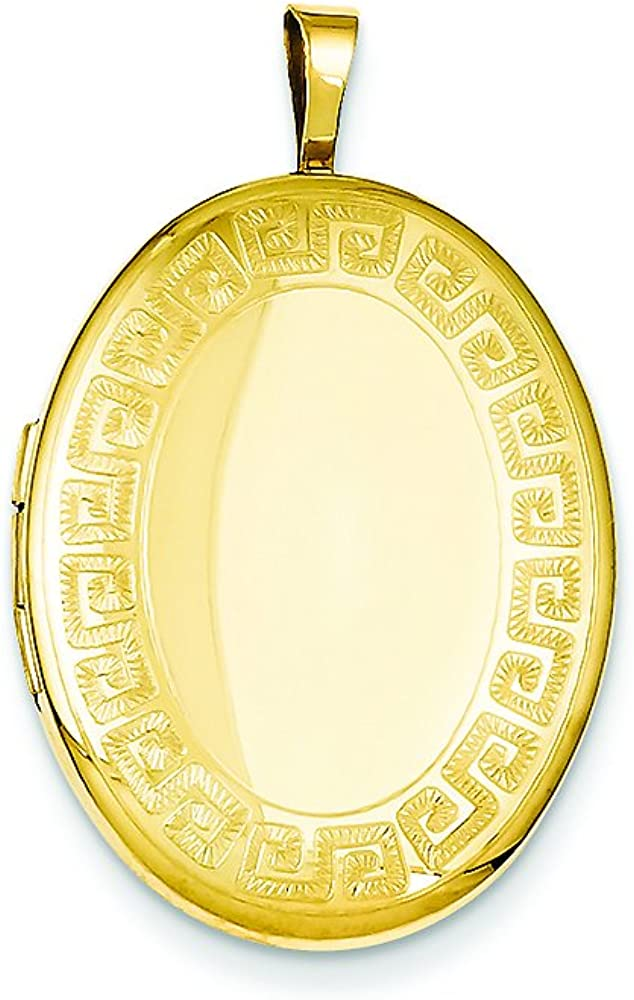 Finejewelers 1/20 Gold Filled 20mm Greek Key Border Oval Locket Necklace Chain Included