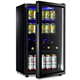 Beverage Refrigerator Cooler 100 Can WANAI Mini Fridge Cooler with Glass Door for Can Drinks Wines Juice, Adjustable Shelves Blue LED Lights and User Friendly Temperature Knob for Home Office Dorm 3.2 Cu. Ft.