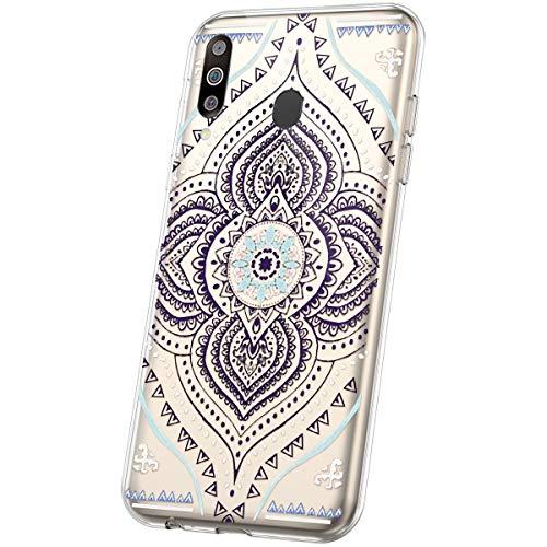 JAWSEU Compatible avec Coque Samsung Galaxy M30 Transparente Silicone Ultra Mince Souple TPU Cristal Clair Housse Coque Mode Belle Fleur Motif Coque de Protection,Mandala#11