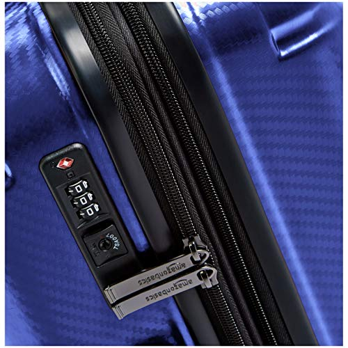 AmazonBasics Oxford Expandable Spinner Luggage Suitcase with TSA Lock - 26.8 Inch, Blue