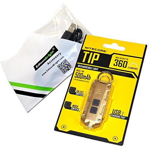 Nitecore TIP linterna de llavero; 360 lúmenes USB recargable; cuerpo de color dorado con EdisonBright marca USB cable de carga