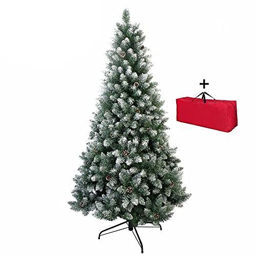 Brigros - Albero di Natale Artificiale Ago di pino folto, + Borsone, Effetto Realistico, Rami a Gancio, Facile Montaggio, PVC, Base Metallica, Ignifugo (120 cm, Innevato)
