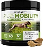 PetHonesty PureMobility Glucosamine for Dogs - Premium Dog Joint Supplement Support with Glucosamine, Green-Lipped Mussel, Collagen & Turmeric - Advanced Hip & Joint Chews & Pet Joint Pain Relief 60ct