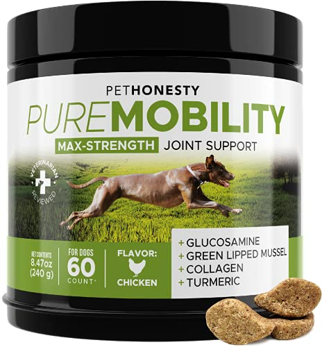 PetHonesty PureMobility Glucosamine for Dogs - Premium Dog Joint Supplement Support with Glucosamine  Green-Lipped Mussel  Collagen & Turmeric - Advanced Hip & Joint Chews & Pet Joint Support - 60ct