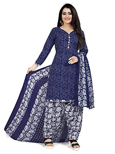 Rajnandini Women's Blue Cotton Printed Salwar Suit (Ready To Wear_X-Large/XX-Large)