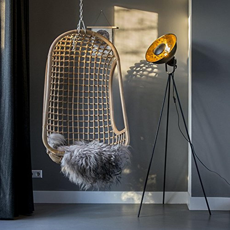QAZQA Modern Stehleuchte Stehlampe Standleuchte Lampe Leuchte Magna schwarz mit Gold Messing Innenbeleuchtung Wohnzimmerlampe Schlafzimmer Stahl Rund Lnglich LED geeignet E27 Max. 1