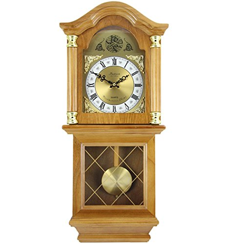 Bedford Clock Collection Classic Chiming Wall Clock with Swinging...