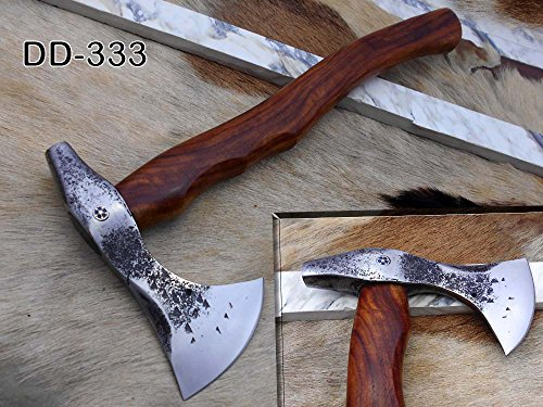 Damascus Depot Bearded Hiking Battle Axe 15 Inches Long Hand Forg High Carbon Steel Tomahawk Axe with Rose Wood Round Handle, Thick Cow Hide Leather Sheath