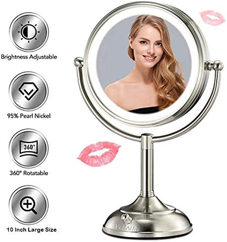 VESAUR Professional 10 Large Size Lighted Makeup Mirror 5X Magnifying Vanity Mirror With 48 Medical LED Lights Senior Pearl Nickel Cosmetic Mirror Brightness Adjustable 0 1000Lux