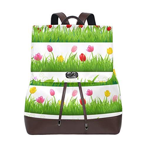 Ahomy Damen Fashion PU Leder Rucksack Flower Borders Set Anti-Diebstahl Rucksack Schultertasche
