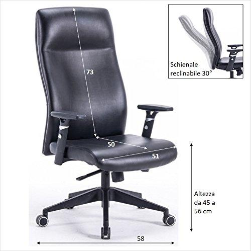 POLIRONESHOP LONDON Poltrona da ufficio per scrivania sedia girevole direzionale regolabile in altezza imbottita imbottitura ergonomica sistema di oscillazione oscillante