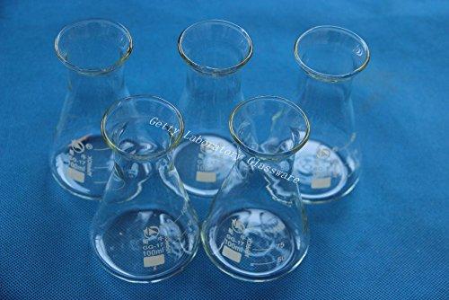 Matraz de cónico de 100ml, erlenmeyer, 5pcs/lot, con boca ancha, cristal de borosilicato 3.3