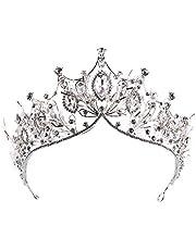 Qiuxiaoaa Matrimonio Corona per la Sposa, Sposa Corona Matrimonio Tiara Nuziale Donne Strass Strass Pietra Copricapo,