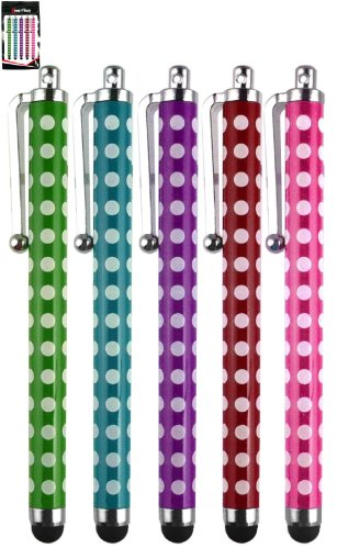 Emartbuy Mikona 7 Inch Tablet PC Pack Of 5 Polka Dots Touchscreen Rubber Tip Stylus Pens