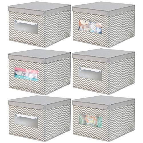 mDesign Juego de 6 cajas de tela para cambiador – Cajas con tapa de fibra sintética – Caja organizadora ideal como organizador de armarios – Caja para guardar ropa o cosas de bebé – gris topo/crudo