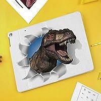 iPad Mini 3/2 / 1 ケース 超薄型 超軽量 TPU ソフトスマートカバー オートスリープ機能 衝撃吸収 二つ折りスタンドティラノサウルス・レックスは、紙の壁を通って頭を突く恐竜絶滅大
