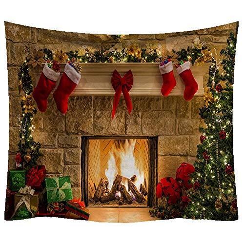 BYFRI Tapiz De Navidad, Navidad Feliz Chrismas Árbol Chimenea Medias Tapices Tapiz para La Cama del Dormitorio Sala De Estar