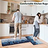 Anti Fatigue Kitchen Mat and Rugs / 2 Piece Cushioned Floor Mats ,Waterproof Non-Slip Memory Foam Kitchen Rug Set for Sink,Office,Desk,Laundry(Blue)