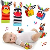 RXYYOS Baby Rasseln Spielzeug Handgelenk Und Socken, Plüschtiere Entwicklungs-Spielzeug für Neugeborene, Mädchen und Jungen, Baby Geschenk Mehrfarbig (2 Hände Rasseln + 2 Socken Rasseln)