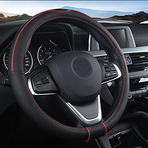 SHIAWASENA Auto Car Steering Wheel Cover, Universal 15 Inch Fit, Soft Leather, Breathable Anti Slip (Black&Red)