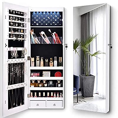 """LVSOMT 8 LED Jewelry Organizer Cabinet with Full-Length Body Mirror, Wall/Door Mounted Jewelry Armoire, Lockable Storage Cabinet with 2 Drawers & 4 Shelves, Large Capacity 14.5""""W x 42.5""""H (White)"""