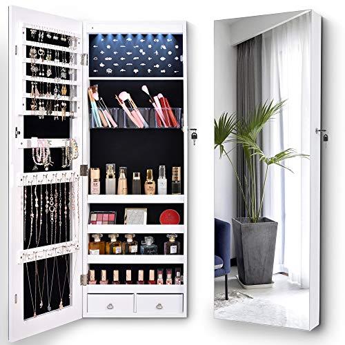 LVSOMT Armadietto gioielli specchio a figura intera, organizer gioielli e contenitore 8 luci a LED, montaggio a parete / sopra la porta, armadio per gioielli 2 cassetti 4 ripiani camera da letto