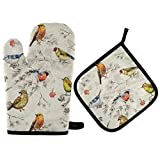 Sinestour Oven Mits Pot Holders Sets - Birds and Flowers Oven Mitt Set Hot Pads Non-Slip Cooking Gloves Heat Resistant Potholder for Baking, Grilling