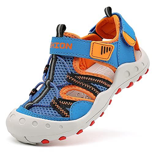 Sandalias para niño Sandalias Deportivas Zapatillas de Trekking Sandalias de Senderismo Niña Sandalias de Vestir(J Azul Naranja,25 EU)