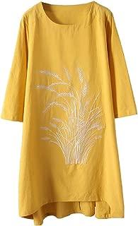 Women's Cotton Linen Dresses New Printed Long Tunic Tops