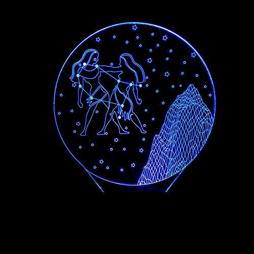 YDBDB Luz nocturna Géminis 3D Led Dormitorio Lámpara de Mesa Constelación Starry Vision Decoración Bebé Dormir Luz nocturna Romántico Lámpara de noche Regalos