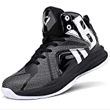 ASHION Men's Basketball Shoes Boys Outdoor Sneakers Kids Trainers High Sport Shoes, E-black