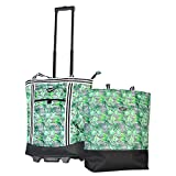 Olympia 2-Piece Rolling Shopper Tote and Cooler Bag, Rain Forest