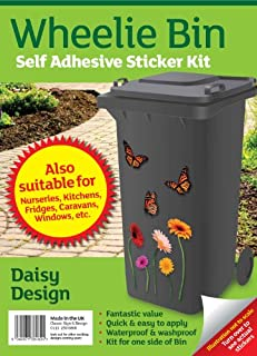 Gnome Wheelie Bin Stickers - Flower butterfly