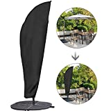 Sonnenschirm-Regenschirm-Abdeckungen, wasserdicht Terrasse Außen Offset Freiarmschirm Heavy Außenpatio Umbrella Cover, Schwarz,L