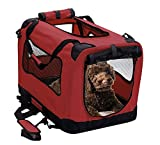 2PET Foldable Dog Crate - Soft, Easy to Fold & Carry Dog Crate for Indoor & Outdoor Use - Comfy Dog Home & Dog Travel Crate - Strong Steel Frame, Washable Fabric Cover, Frontal Zipper Small Red