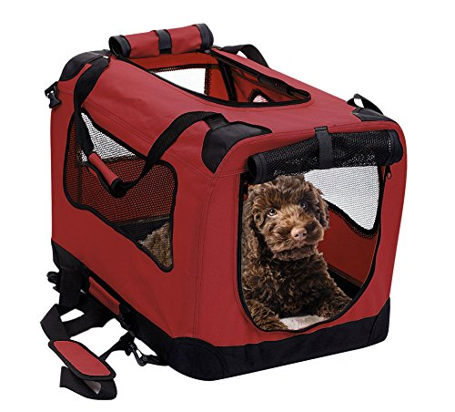 2PET Foldable Dog Crate  Soft Easy to Fold amp Carry Dog Crate for Indoor amp Outdoor Use  Comfy Dog Home amp Dog Travel Crate  Strong Steel Frame Washable Fabric Cover Frontal Zipper Small Red