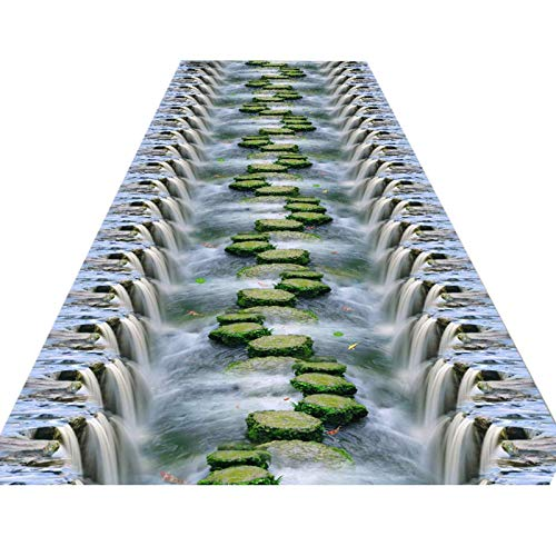 DHTOMC Teppich, Premium-Teppich, Flurläufer, Teppich, 1 m, 2 m, 3 m, 4 m, 5 m, 6 m, 7 m lang, blau, modern, abstrakte Fläche, rutschfeste Gummi-Rückseite, 0,6 x 3 m (Größe : 0,8 x 5 m)