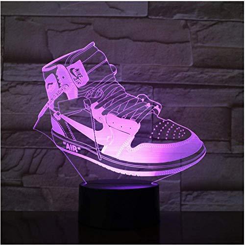 3D Sneaker Sportschuhe LED Acryl Nachtlicht mit 7/16 Farben Touch Fernbedienung Illusion Change Home Decoration