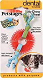 Petstages Dental Kitty Chew Wheel Chew Toy for Cat Dental Health & Hygiene Featuring Fabric Streamers & Durable Material, Small, Red