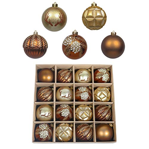 Valery Madelyn 16ct 80mm Woodland Copper Gold Christmas Ball Ornaments, Large Shatterproof Christmas Tree Ornaments Bulk Xmas Tree Decoration, Themed with Tree Skirt (Not Included)