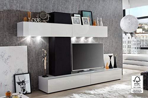 trendteam GO94102 Wohnwand Wohnzimmerschrank Weiss Hochglanz, Absetzung Boxenstoff schwarz, BxHxT 268x175x44 cm