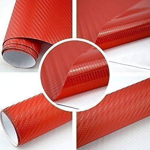TipTopCarbon 8,55€/m² Autofolie 3D Carbon Rot 152cm breit BLASENFREI mit Luftkanäle 3D Flex Selbstklebende Folie Auto folierung