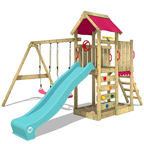 WICKEY Parque infantil de madera MultiFlyer con columpio y tobogán turquesa, Torre de escalada de exterior con arenero y escalera para niños