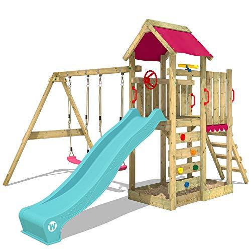 WICKEY Spielturm Klettergerüst MultiFlyer mit Schaukel & türkiser Rutsche, Kletterturm mit Sandkasten, Leiter & Spiel-Zubehör
