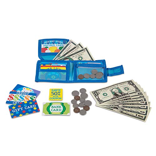 Melissa & Doug Pretend-to-Spend Toy Wallet With Play Money and Cards (45 pcs)