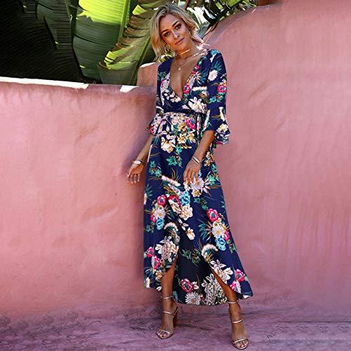 DAIDAILYQ Sommer Blumendruck Kleid Boho Elegant Tropical Beach Kleid Vintage Casual Runway Sommerkleid