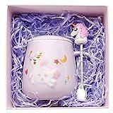 Amycute Kawaii - Tazza da caffè con unicorno, con custodia e cucchiaio, in ceramica, con unicorno, idea regalo unica per la casa e l'ufficio, 400 ml Lilla