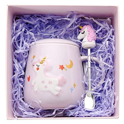 Amycute Kawaii Einhorn Kaffebecher, Einhorn Tasse mit Gehäuse und Löffel,Einhorn Kaffee Becher, Keramik Einhorn Becher für Home Office Einzigartige Geschenke,400 ml. (Lila)