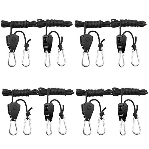 BOSYTRO 4 Paar 1/8 Zoll Ratchet Hanger Heavy Duty Einstellbare Ratsche Seil Aufhänger Verstellbarer Seilaufhänger für Grow Light Armaturen Pflanzenlampe Gartenarbeit, 68kg Tragkraft pro Paar