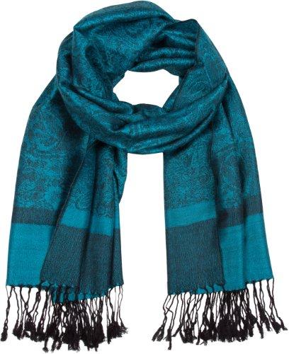 Sakkas Paisley Self-Design Shawl/Wrap/Stole - Turqoise/Black paisley